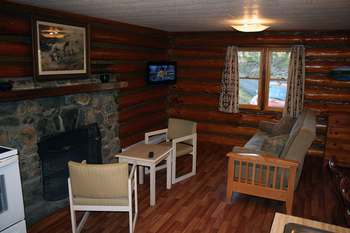 Two bedroom hillside Log Cabin with fireplace